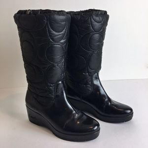A7368 COACH Winter Cantina Boots black 8.5 women's